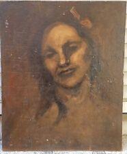 Tableau Ancien Huile Portrait De Femme XIXe Eugène Carrière ? Impressionniste