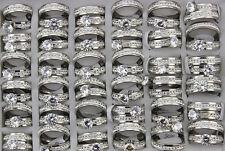 Fashion Jewelry Lots 50set Stainless Steel Rhinestone 2pcs in 1set Wedding Rings
