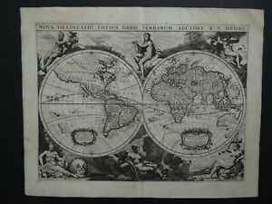 1660 Atlas Jacob Van MEURS  World map  NOVA DELINEATIO TOTIUS ORBIS TERRARUM