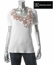 NWT $39.50 SZ S INC White Stretch Beige Flowers Jersey Pullover Top New Sold Out