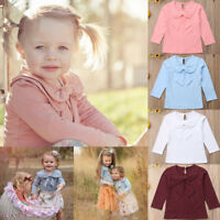Toddler Kid Baby Girl Autumn Bowknot Cotton Long Sleeve Shirt Blouse Top T-shirt
