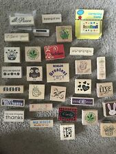 Lot Of 30 Wooden Stamps Scrapbooking or Stampin Up Stampers