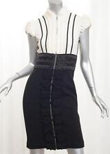 NATHAN JENDEN Womens Cream+Black Knit Ruffle Cap-Sleeve Sheath Dress 4/S