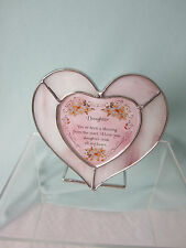 Daughter Heart Votive Candle Holder Verse Daughter I love You Glass Metal New