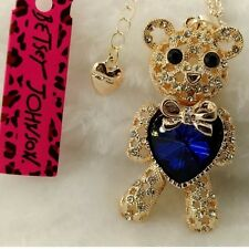 Cute NWT Betsey Johnson Necklace Gold Blue Teddy Bear ��blue Heart ❤️