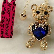 Betsey Johnson Necklace Gold Blue Heart Teddy Bear Gift Box & Bag