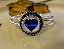 THIN BLUE LINE POLICE HEART SNAP BUTTON ON ROPE SILVER BANGLE BRACELET JEWELRY