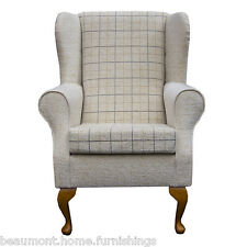 Wing Back Fireside Armchair Small Westoe Orthopaedic in a Maida Vale Check Stone