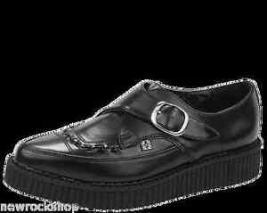 T. U. K. A8520 Tuk Zapatos Negros Piel en Punta Hebilla Oxford Burdel Creepers