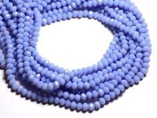Fil 39cm 90pc env - Perles Verre opaque - Rondelles Facettées 6x4.5mm Bleu Mauve