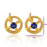 Classic Gold Filled Sapphire Round crystal Women's Hypoallergenic Stud Earring