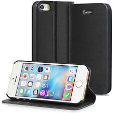 GreatShield Leather Wallet Kickstand Flip Case for Apple iPhone SE 5S 5 (Black)