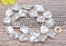 Z7511 Lustre 20mm White Lamina-Baroque KESHI Reborn Pearl Necklace 17inch