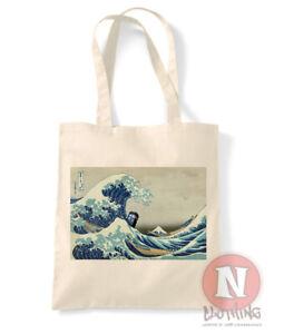Great wave off Kanagawa Tardis tote bag shopping 100% Dr cotton Who Whovian