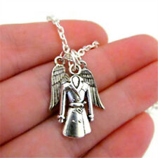 Castiel inspired Necklace with Tiny Wings & Trenchcoat silver tone