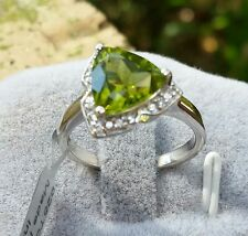 2.67 cts Genuine Changbai Peridot Trillion Size 7 Ring Sterling Silver w/accents