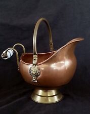 Antique Copper coal scuttle with ceramic delft handle 9 inches