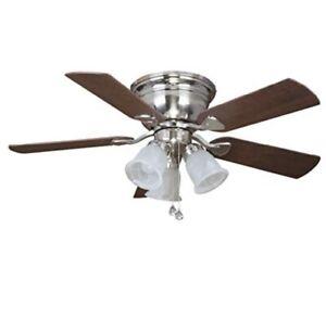 Harbor Breeze Centreville 42-in Brushed Nickel Indoor Flush Mount Ceiling Fan