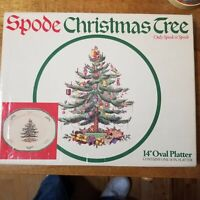 "Spode Christmas Tree 14"" Oval Serving Platter. In Original Retail Box"