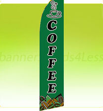 Swooper Feather Flutter Banner Sign Shop Flag 11.5 ft- COFFEE gf