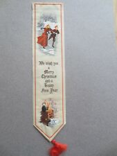 BOOKMARK Cash's Silk Stevengraph MERRY CHRISTMAS Ice Skaters Cat by Fire