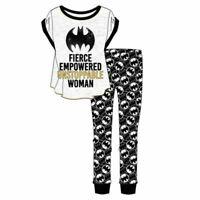 Batman Batgirl PJ Pyjamas T-Shirt Top & Cuffed Lounge Pants Sizes 08/10 to 20/22