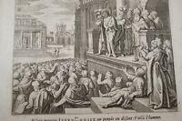 GRAVURE SUR CUIVRE PILATE MONTRE JESUS -BIBLE 1670 LEMAISTRE DE SACY (B229)