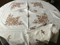VINTAGE White Brown Floral Embroidered Table Cloth & Runner & 2 Napkins