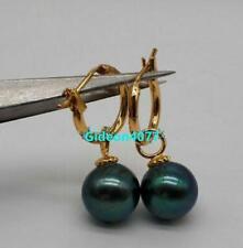 New 10-11mm AAA black green natural Tahitian pearl Dangle earrings 14k