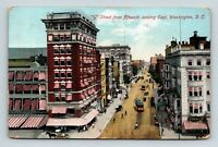 WASHINGTON D.C. OLD VIEW ON G STREET FROM 15TH LOOKING EAST 1910 POSTCARD A-5-2