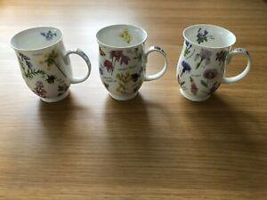 3 x Dunoon Mugs. Wayside/Florabunda design. Fine Bone China