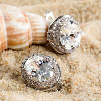 Fashion Women Silver Plated Ear Stud Hoop Crystal Rhinestone Earrings Jewelry