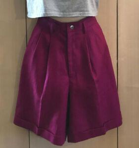 VTG 80s 90s STYLE Burgundy HIGH WAIST Preppy Trendy Linen Bermuda Mom Shorts 4