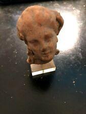"""Ancient Greek Terra Cotta Head Figurine Busts 300 BC  2"""" T"""