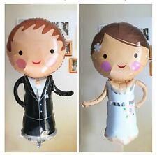 "2 x 30"" Bride and Groom foil balloons pair  set  76cm x 39cm 30"" x 15"" Wedding"