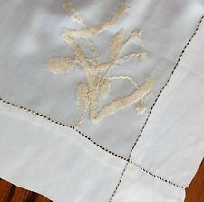 "Vintage silk square 24"" hand-embroidered initial E pocket handkerchief scarf ab"