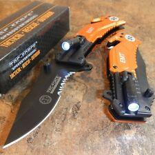 TAC-FORCE Orange EMT Spring Assisted Open LED Tactical Rescue Pocket Knife NEW