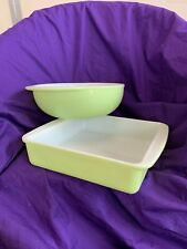 """Vintage Pryex Lime Green Baking Dishes Square 8"""" and Round 222/024"""