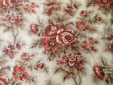 Antique 19thc French Picotage Roses Cotton Fabric ~  Rich Rust Coral Red Brown