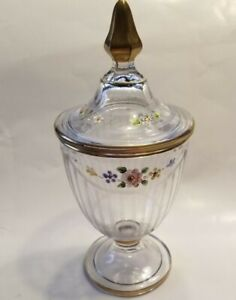Footed Panel Pressed Glass Candy Dish with Hand Paint Petit Flowers & Gold Trim