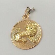 18K Yellow Gold Leo the Lion Zodiac Disc Charm Pendant 4.6 gr