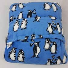 Vera Bradley Fleece Travel Blanket Penguins Intarsia Blue Airplane New with Tags