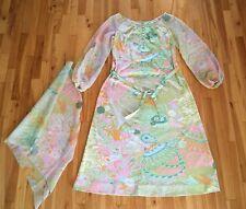 Vintage DON LUIS DE ESPANA Long Maxi Dress, Belt and Stole Shaw BOHO CHIC Spain