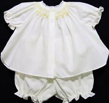 HAND~EMBROIDERED NEWBORN SMOCKED  DRESSY YELLOW DIAPER SET W/LACE~NWT'S