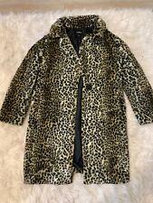 Express Womens Leopard Cheetah Faux Fur Long Coat