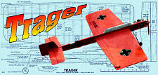 "Model Airplane Plan 33""15 Control Line Profile Carrier Plane Trager Printed Plan"