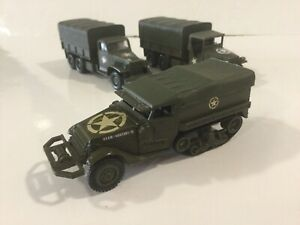 VINTAGE SOLIDO #? MILITARY GREEN ARMY HALF TRACK M3 CARGO TRUCK 1:43 FRANCE