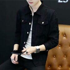 Men's Denim Jacket Coat Ripped Distressed Long Sleeve Pocket Jean Tops Casual