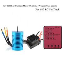 13T 3000KV Brushless Motor & 60A ESC & Program Card Combo For 1/10 RC Car Truck