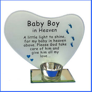 photo & poem plaque with tea light candle holder Baby Boy in Heaven